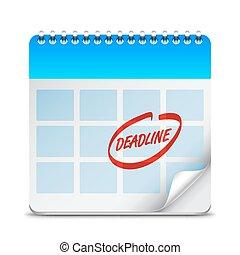 prazo de entrega, palavra, ligado, calendário