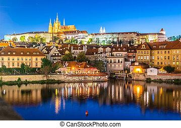 prazsky, 橋, praha, プラハ, vew, チャールズ, hrad., 共和国, チェコ, 照らされた, czech:, 城, ランドマーク, night.