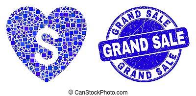 preço, amor, azul, arranhado, grandioso, selo, venda, mosaico