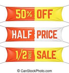 preço, bandeiras, metade