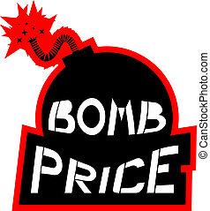 preço, bombardeie ícone
