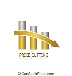 preço, corte, etiqueta