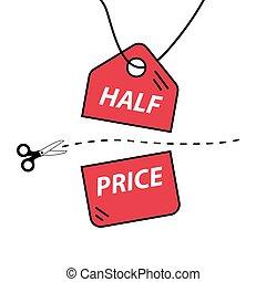 preço, corte, metade