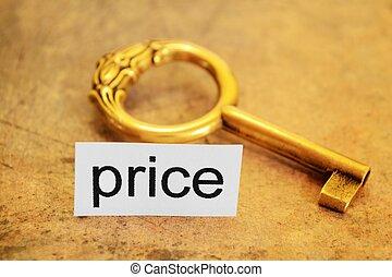 preço, e, dourado, tecla