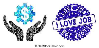preço, manutenção, ícone, trabalho, mosaico, amor, angústia, selo