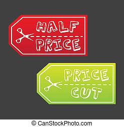preço, metade