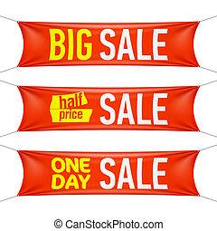 preço, venda, um, grande, metade, dia