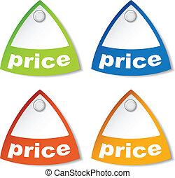 preço, vetorial, tag