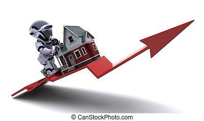 preços, propriedade, levantar