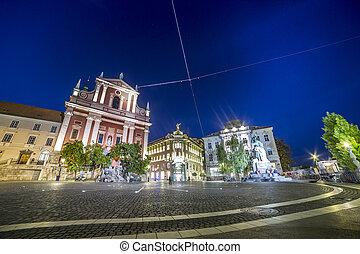 prešeren, ljubljana, 広場, ダウンタウンに, スロベニア