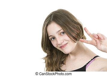 pre, 十代, 若い, v. 印, 作成, 女の子