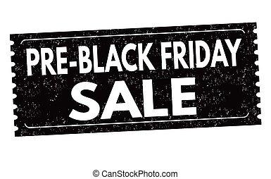 pre, adesivo, venerdì, vendita, etichetta, nero, o