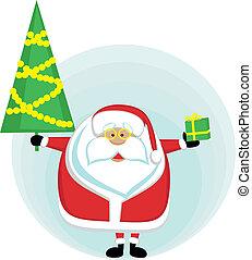 pre, albero, cristmas, santa, presa a terra