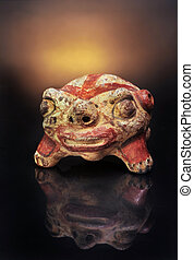 Pre-Columbian Anthropomorphic frog rattle,made around 300AD
