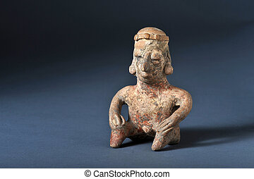 Pre-Columbian Art - Colima  100 BC seated man.