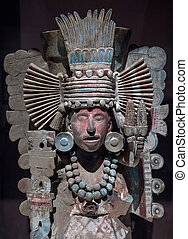 Pre-Columbian Mesoamerican stone statue depicting a warrior...