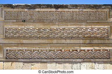 Pre-Columbian mosaic stonework in Mitla, Oaxaca, Mexico.