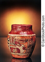 Pre-Columbian Vase - Pre-Columbian Mayan painted vase,made...