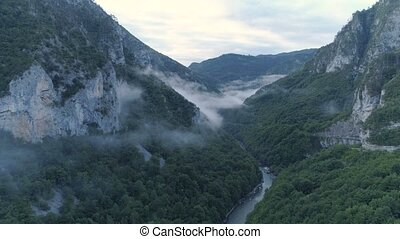 Pre-dawn aerial view of the Tara River canyon, Montenegro