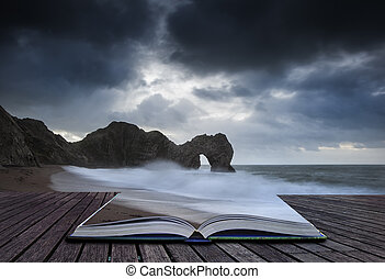 Pre-dawn Durdle Door on Jurassic Coast in England in pages of bo