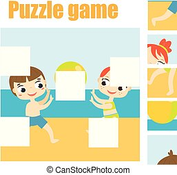 pre, educativo, mancante, puzzle, gioco, trovare, scuola,...