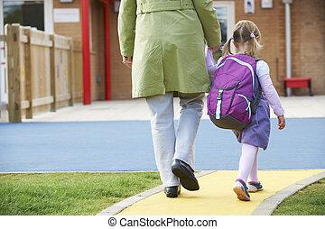 pre escuela, toma, padre, niño