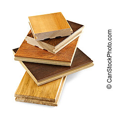 Pre-finished hardwood floor samples - Isolated stacked ...