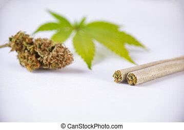 pre, folha, detalhe, isolado, cannabis, junções, nugs, branca, rolo