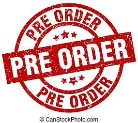 pre, grunge, postzegel, order, ronde, rood