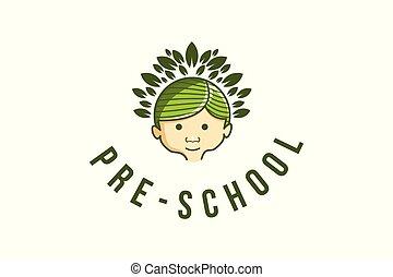 pre, hoofd, silhouette, school, vrijstaand, ontwerpen, achtergrond, logo, witte , kinderen, inspiratie