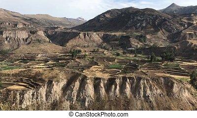 pre-Inca farming terraces - ancient farming terraces in...