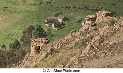 pre-incan, maisons, andes, au-dessous, pérou, village,...