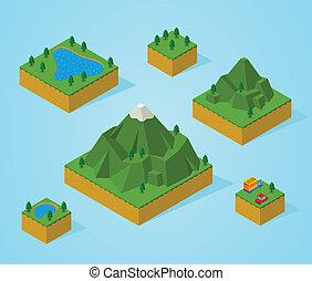 pre, isométrico, asamblea, map-mountain