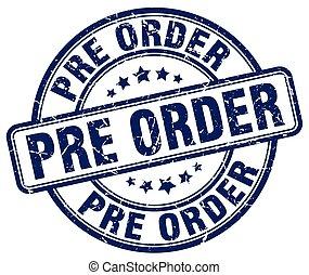 pre, order, blauwe , grunge, postzegel