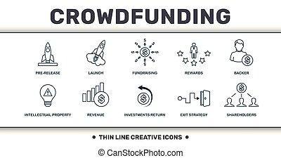 pre-release, set, ritorno, crowdfunding, icone, lancio, collection., raccolta fondi, reddito, include, ricompense, sostenitore, magro, tale, premio, linea, creativo, investimenti, elementi