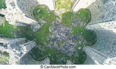 Pre-romanesque church ruins Rotonda, aerial - Copter aerial...