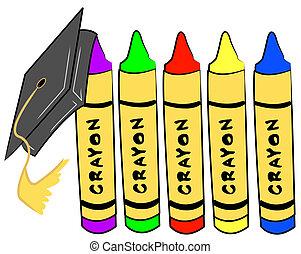 pre school graduation - cap hanging from crayons