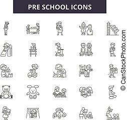 pre scuola, contorno, set, bambino, icone, illustration:,...