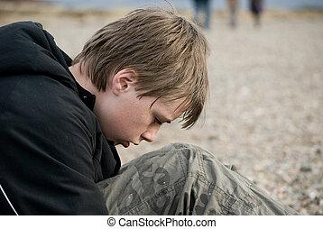 pre-teen, deprimido, boy., retrato