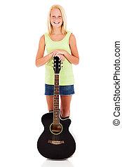 pre teen girl with a guitar