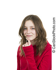 Pre teen young girl with finger on chin