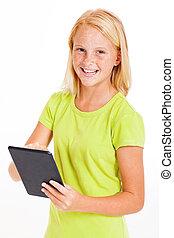 pre, tonåring flicka, användande, kompress, dator