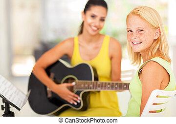 pre, tonåring flicka, musik, klassificera