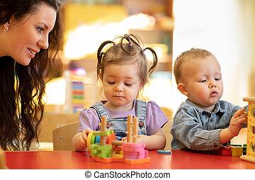 pre, toneelstuk, concept, school, kleuterschool, geitjes, onderwijs, speelbal, leraar, classroom.