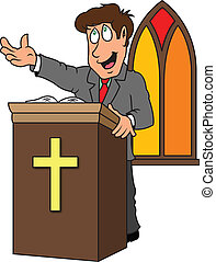 a pastor preaching the gospel from the pulpit