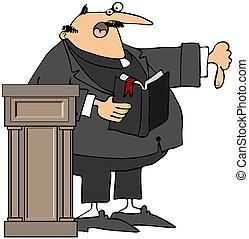 Preacher Giving The Thumbs-Down - This illustration depicts...