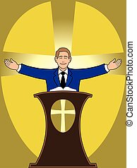 Preacher is spreading his arms at the podium