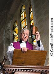 Preacher on pulpit
