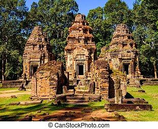 preah, ko, temple, angkor, siem, récolter, cambodia.