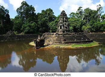 preah, neak, pean, temple., angcor., siem, reap., cambodge